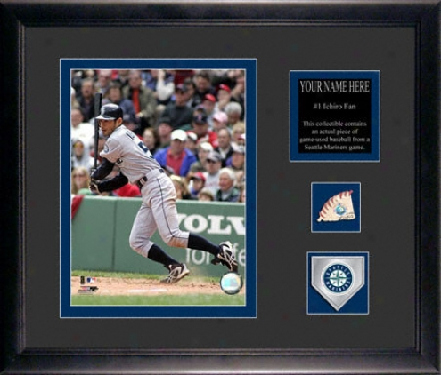 Ichiro Suzuki Seattle Mariners Framed 6x8 Photograph With Personalozed Plate, Game Used Baseball Piece And Team Medallion