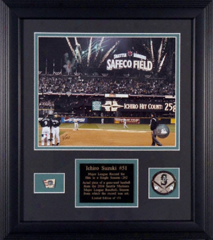 Ichiro Suzuki Seattle Mariners Single Season Hits Record Framed Game Used Baseball With Photograph