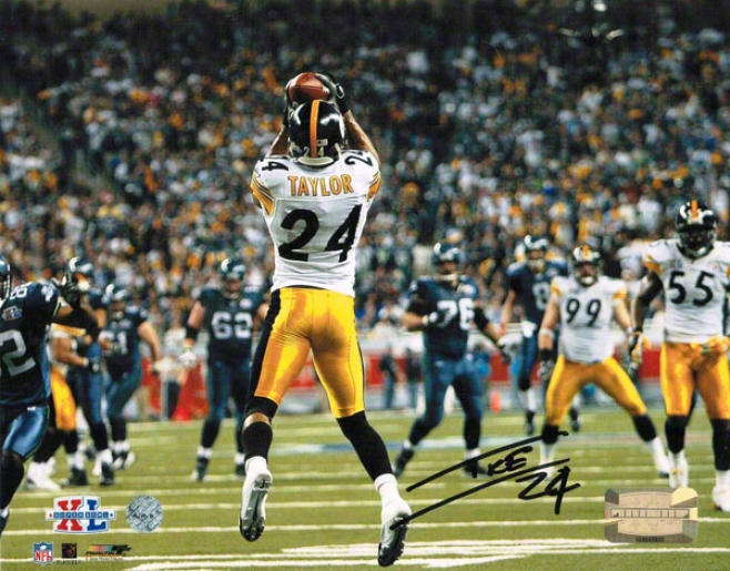 Ike Taylor Pittsburgh Steelers Autographed 8x10 Photo Interception