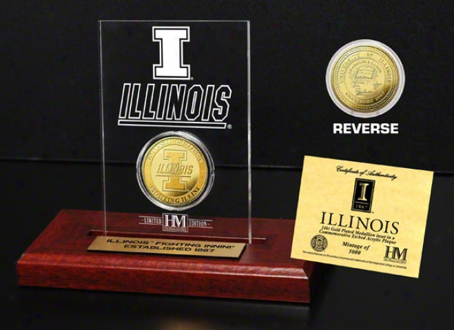 Illinois Figting Illini 24kt Gold Coin In Etched Acrylic