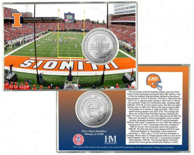 Illinois Fighting Illini Memorial Stadium Silver Coin Card