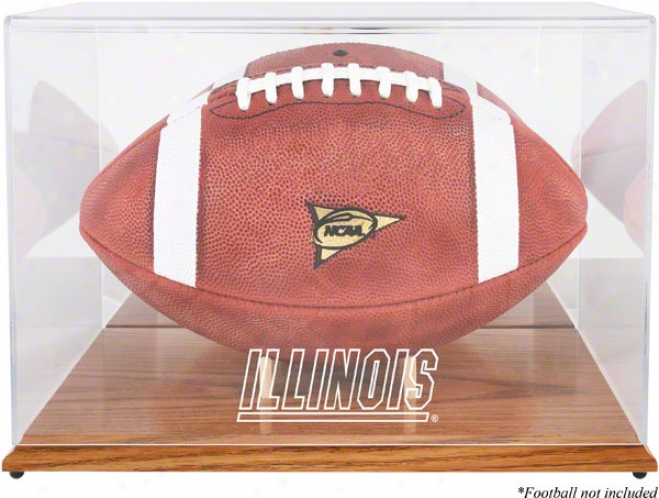 Illinois Fighting Illini Team Logo Football Parade Case  Details: Oak Basw