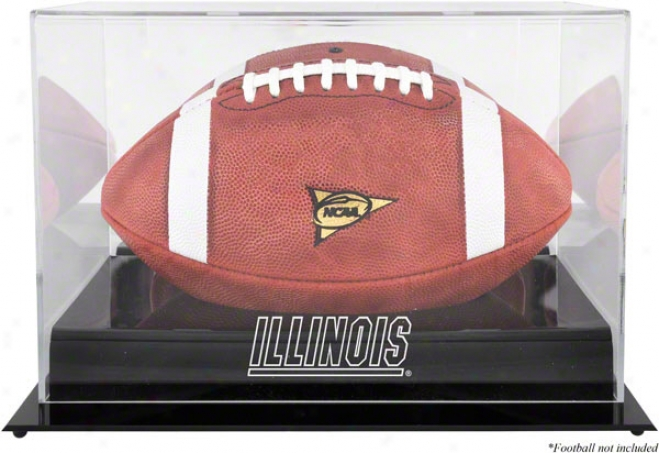 Illinois Fighting Illini Team Logo Football Display Case  Details: Black Base