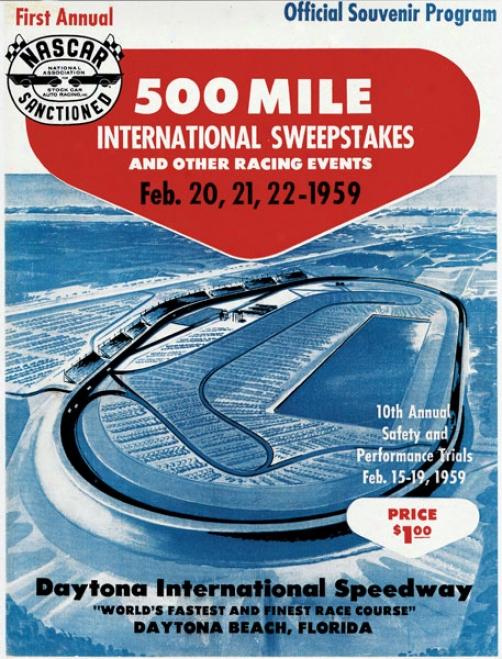 Inaugural 1959 Daytona 500 Canvas 36 X 48 Program Print