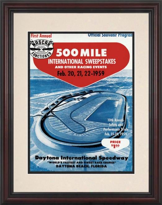 Inaugural 1959 Daytona 500 Framed 8.5  X 11 Program Newspaper