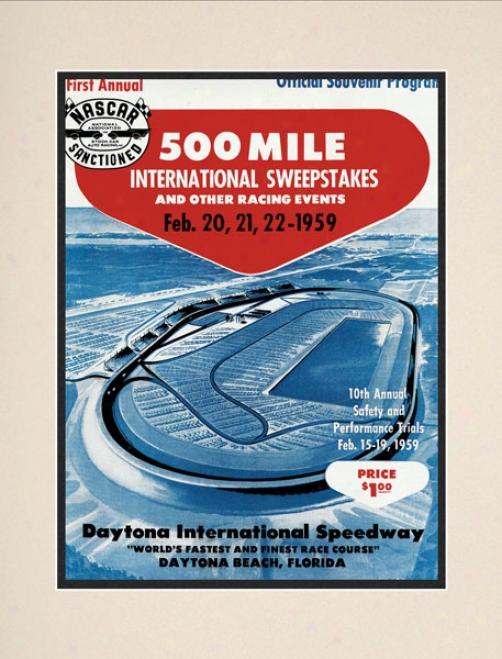 Inaugural 1959 Daytona 500 Matted 10.5 X 14 Program Print