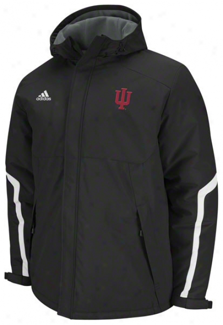 Indiana Hoosiets Adidas Black Football Sideline Heavyweight Cucullate Jerkin