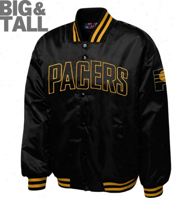 Indiana Pacers Big & Tall Murky On Black Satin Jacket