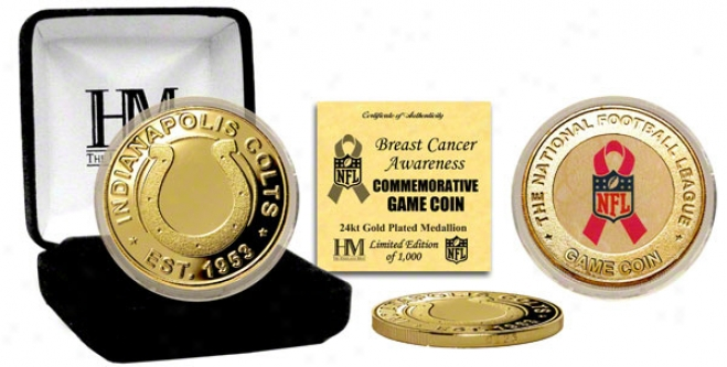 Indianapolis Colts Breast Cancer Aeateness 24kt Gold Game Coin