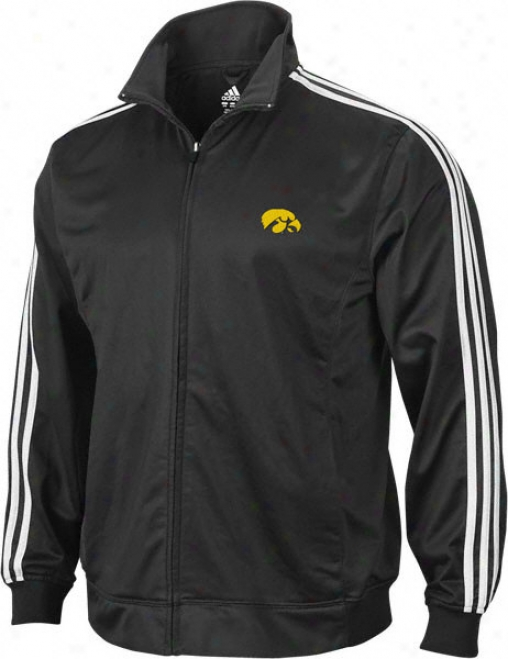 Iowa Hawkeyes Adidas Black 3-stripe Track Jacket