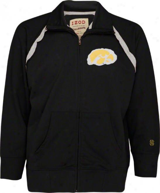 Iowa Hawkeyes Black Izod Raglan rTack Jacket