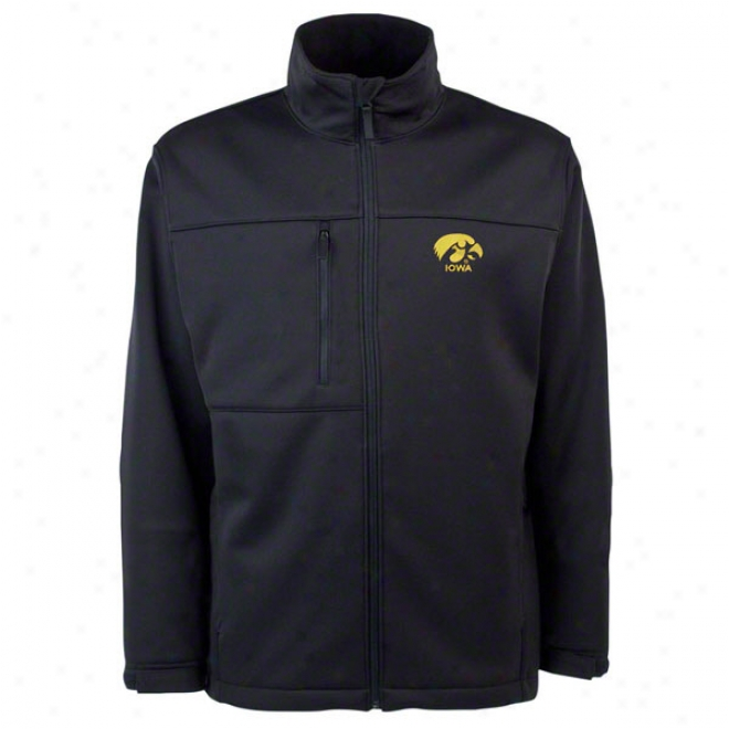 Iowa Hawkeyes Black Traverse Bonded Soft Shell Jacket