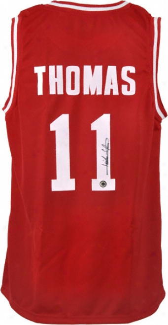 Isiah Thomas Indiana Hoosiefs Autographed Red Throwback Jersey