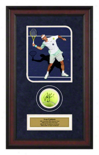Ivan Ljubicic Framed Autographed Tennis Ball With Photo