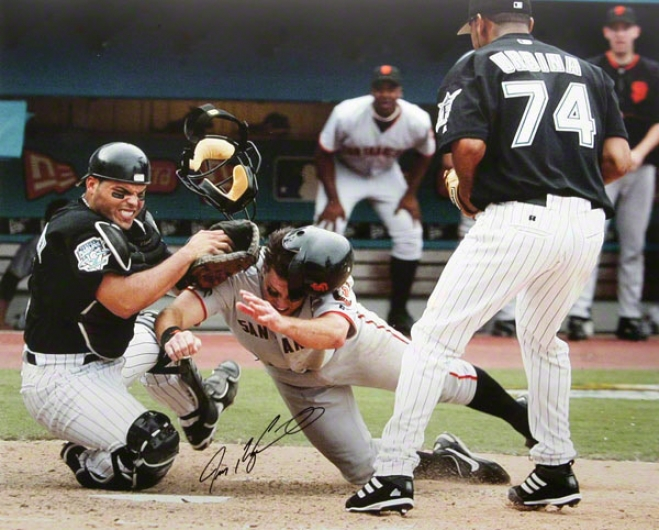 Ivan 'pudge' Rodriguez Miami Marlins Out At The Plate 16x20 Autographed Photograph