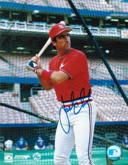 Jqck Clark St. Louis Cardinals Autographed 8x10 Photo Batting Cage