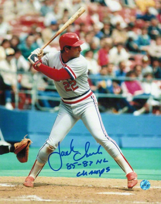 Jack Clark St. Louis Cardinals Autographed 8x10 Photo Batting Stance Inscribed 8587 Nl Champs