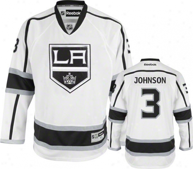 Jack Johnson Jersey: Reebok White #3 Los Angeles Kings Premier Jersey