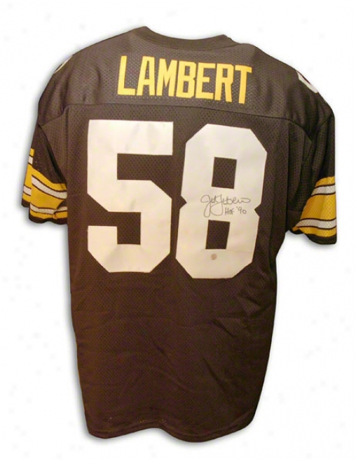 Jack Lambert Pittsburgh Steelers Autographed Throwback Black Jersey With Hof Inscription