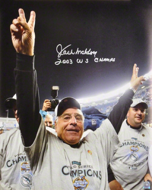 Jack Mckeon Miami Marlins 2003 World Series Autographed Photograph