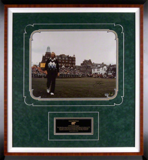 Jack Nicklaus - 1978 British Open - Framed Autographed 16x20 Photograph With Descriptive Plate