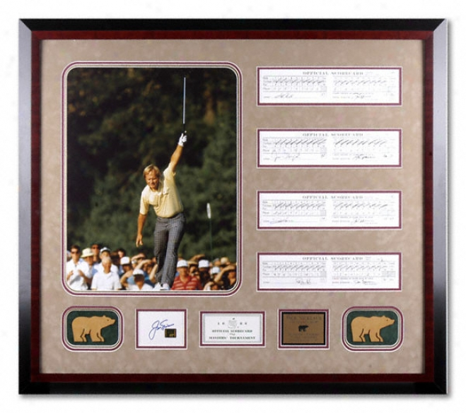 Jack Nicklaus - 1986 Masters Hero - Framed 16x20 Photograph With Autographed Scorecard