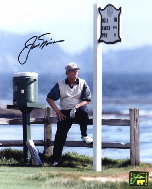 Jack Nicklais Autographed Photograph  Details: Leaning On Fence 8x10