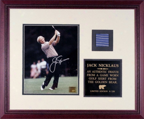 Jack Nicklaus Framed Autographed Photograph With Bule Golf Shirt