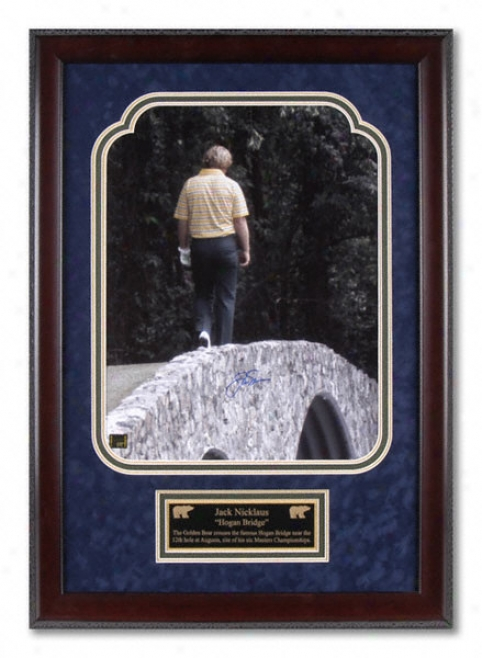 Jack Nicklaus - Hogan Bridge - Framed Autographed 16x20 Photograph With Descriptive Plate