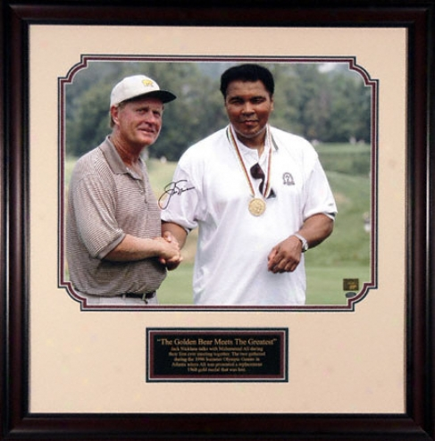 Jack Nicklays - With Muhammad Ali - Framed 16x20 Autographed Photograph