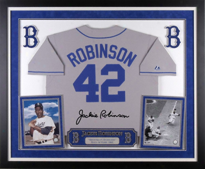 Jackie Robinson Brooklyn Doegers Deluxe Framed Majestic Cooperstown Jersey