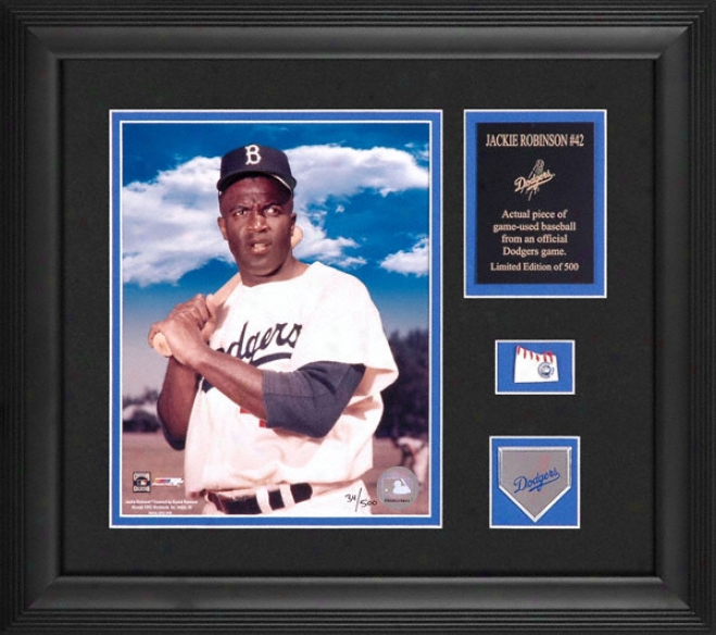 Jackie Robinson Brooklyn Dodgers Framed 8x10 Photograph Through  Baseball Piece And Descriptive Plate
