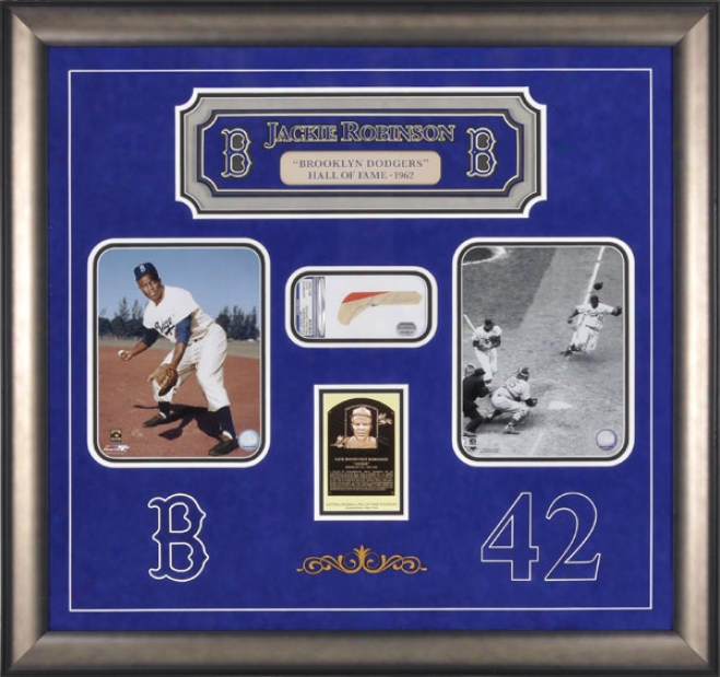 Jackie Robinso nBrooklyn Dodgers Framed Photographs With Autograph Cut