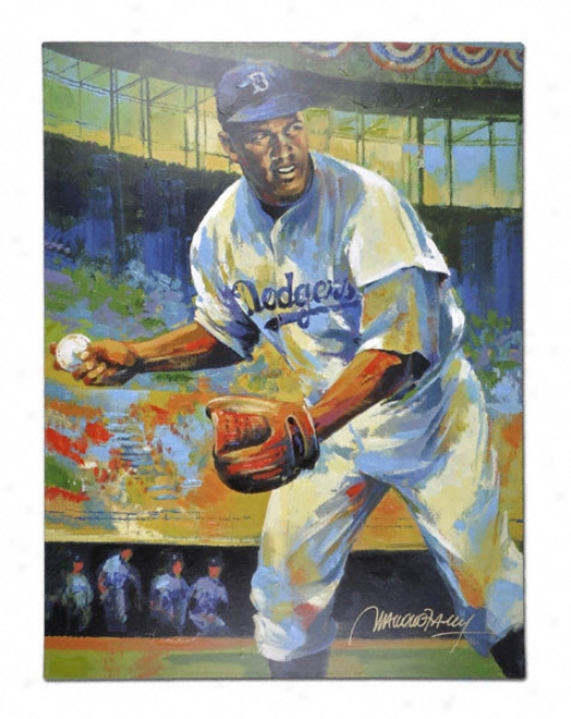 Jackie Robinson Brooklyn Dodgers Unsigned 36x48 Giglee