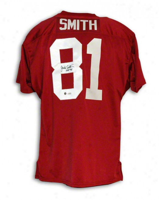 Jackie Smith Autographde St. Louis Cardinals Red Throwback Jersey Inscribed &quothof 94&quot
