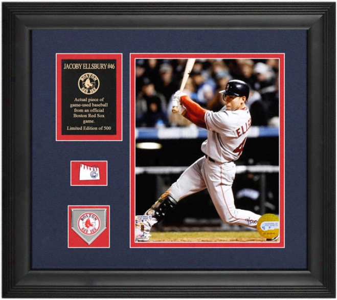 Jacoby Ellsbury Boston Red Sox Framed 8x10 Photograph With Team Medallion, Game Used Baseball Piece And Descriptive Plate