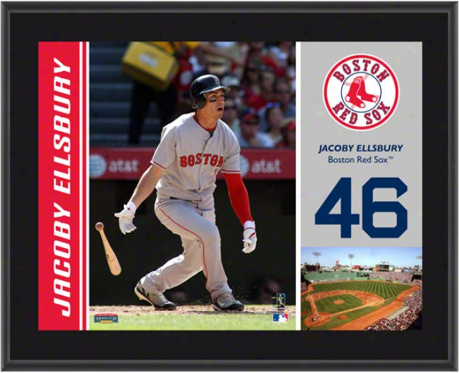 Jacoby Ellsbury Flat plate of metal  Details: Boston R3d Sox, Sublimated, 10x13, Mlb Plaque