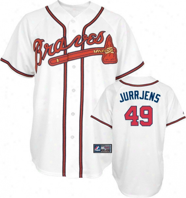 Jair Jurrjens Jersey: Adult Majestic Home Of a ~ color Replica #49 Atlanta Braves Jersey