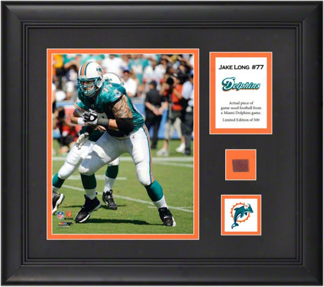 Jake Long Framed 8x10 Photograph  Details: Miami Dolphins, With Game Used Football Piece And Descriptive Plate