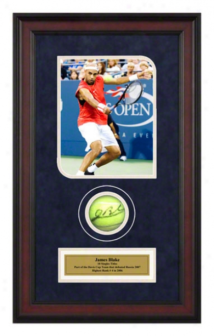 James Blake 2006 Us Open Framed Autographed Tennis Ball With Photo