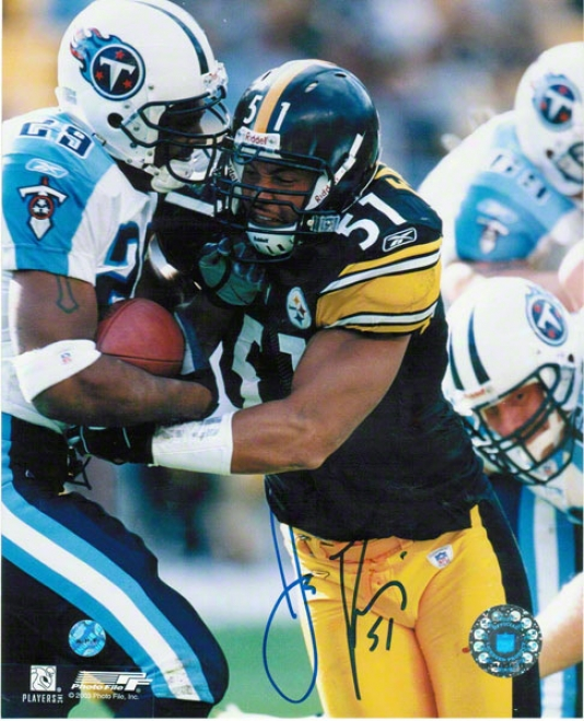 James Farrior Pittsburgh Steelers Autographed 8x10 Photo Stripping The Football