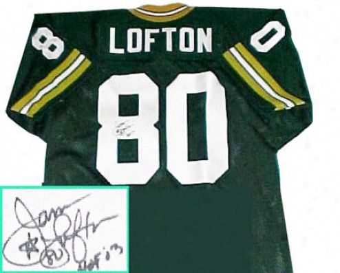 James Lofton Inexperienced Bight Packers Autographed Green Throwback Jersey With Hof 03 Inscription