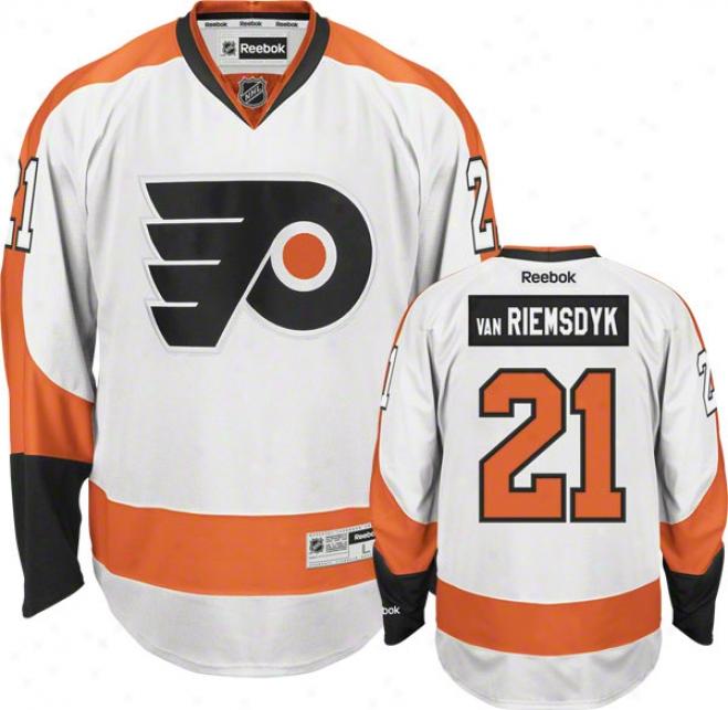 James Van Riemsdyk Jersey: Reebok White #21 Philadelphia Flyers Premier Jersey