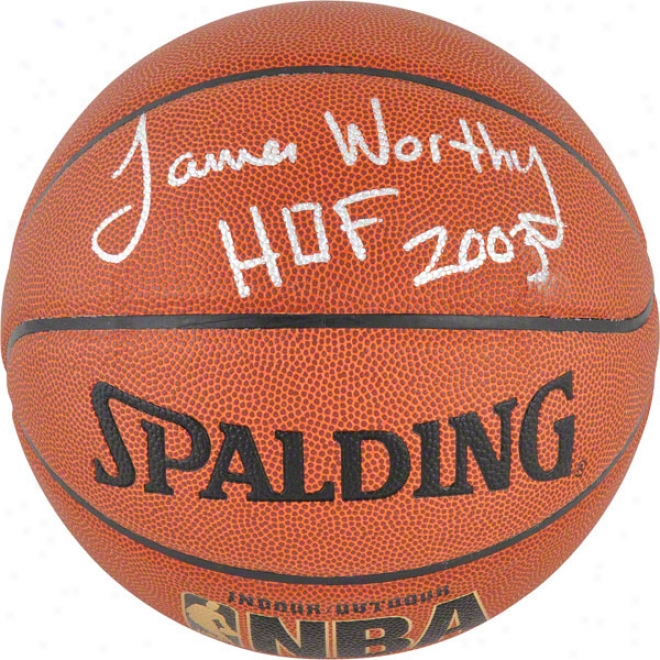 James Worthy Autographed Basketball  Detals: Los Angeles Lakers, Indoor/outdoor, With &quothof 2003&quot Inscriptoon