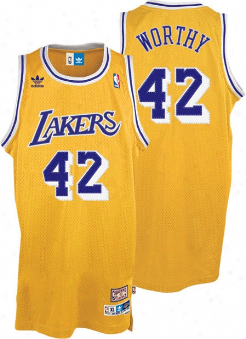 James Worthy Jersey: Adidas Gold Throwback Swingman #42 Los Angeles Lakers Jersey