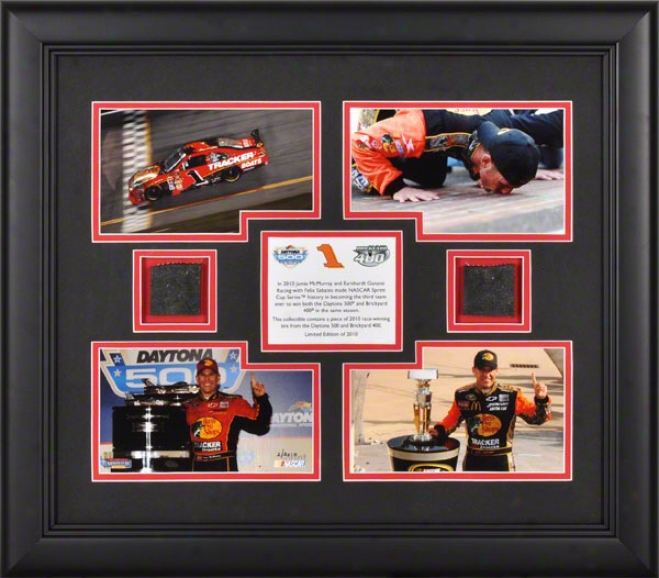 Jamie Mcmurray 2010 Brickyard 400 And Daytona 500 Framed 4x5 Photographs With Daytona And Indianapolis Race Attractive Tires - Limited Edition Of 2010