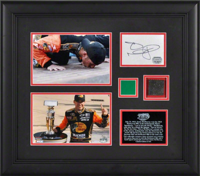 Jamie Mcmurray 2010 Brickyard 400 Framed 4x6 Photographs With Autograph Card, Race Winning Tire And Starting Flag - Limited Editon Of 101