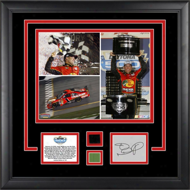 Jamie Mcmurray 2010 Daytona 500 Winner Framed 11x14 Photograph Witth Tire, Green Flag And Autograph Card - Limited Edition Of 100