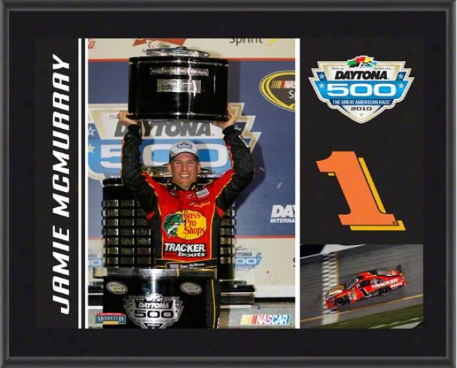 Jamie Mcmurray Plaque  Details: #1 Bass Pro Shops/gracker Car, 2010 Daytona 500 Champion, Sublimated, 10x13, Nascar Plaque