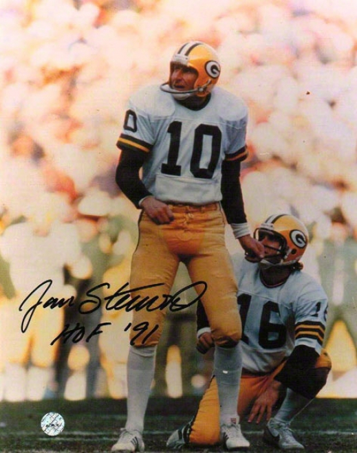 Jan Stenerud Autographed Green Bay Packere 8x10 Photo Inscribed &quothof 91&quot